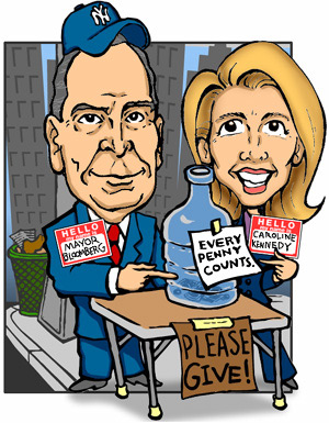 Mayor Bloomberg and Caroline Kennedy ask for charity.
