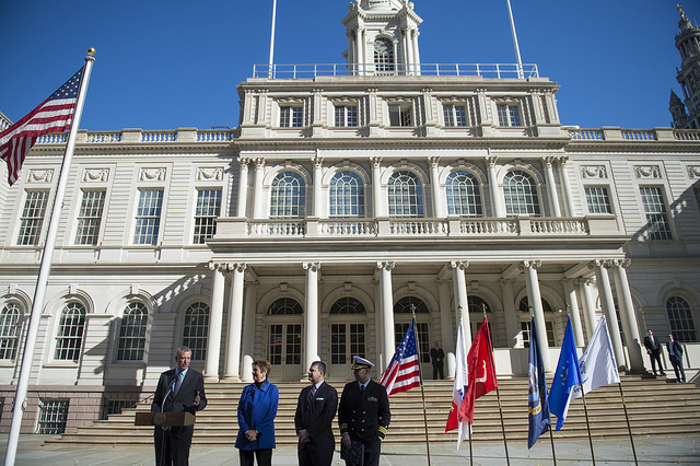 city hall veterans flags