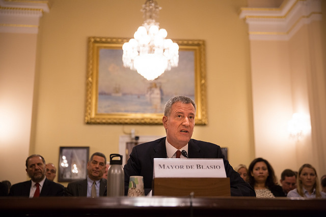 de blasio testifying