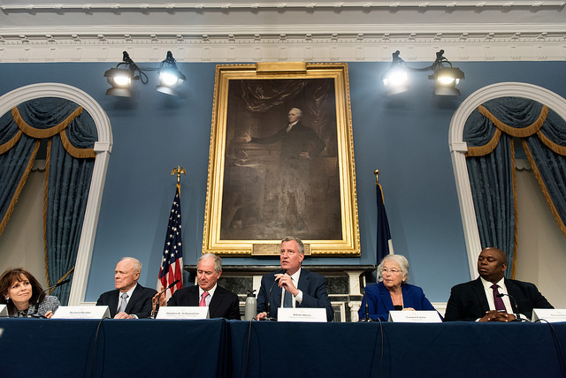 de blasio business leaders buery farina
