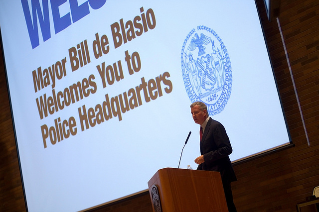 de blasio nypd headquarters
