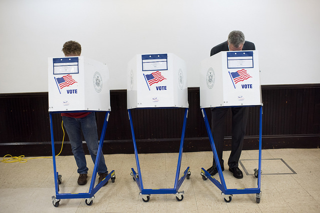 three voting booths