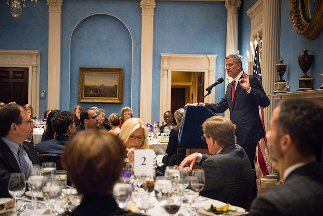 de Blasio speech dining room gracie