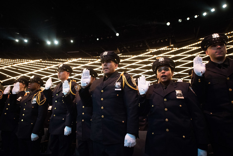 NYPD cadets salute