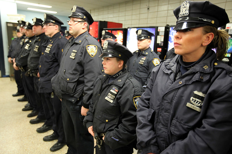 NYPD officers precinct roll call