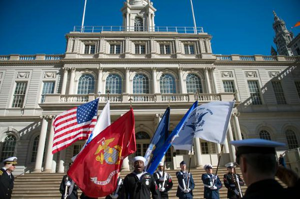 city hall military flags