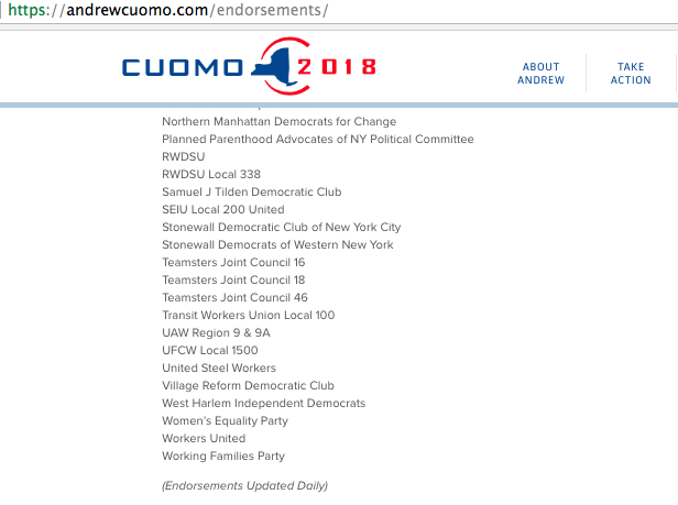 cuomo 2018 website endorsements 2 of 2