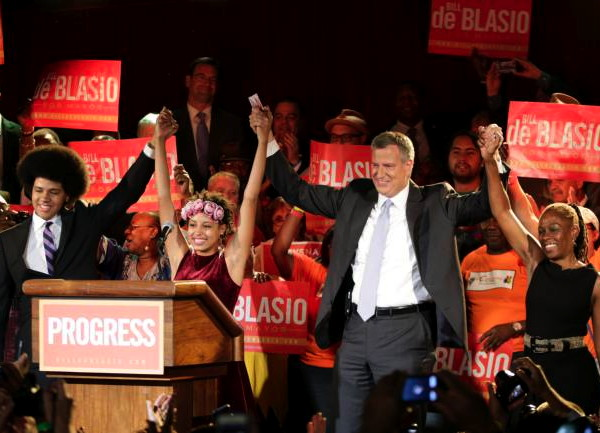 De Blasio and family