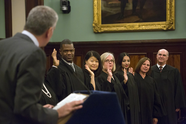 judicial swearing in de blasio judges