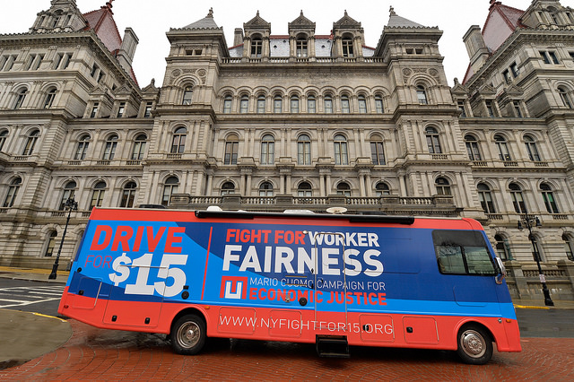 mario cuomo campaign for economic justice bus capitol