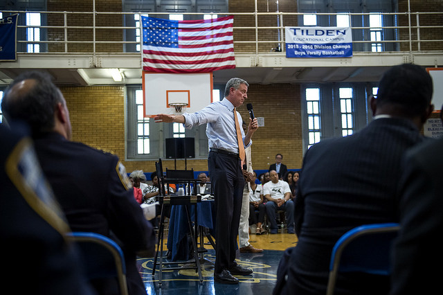 de blasio town hall brooklyn basketball
