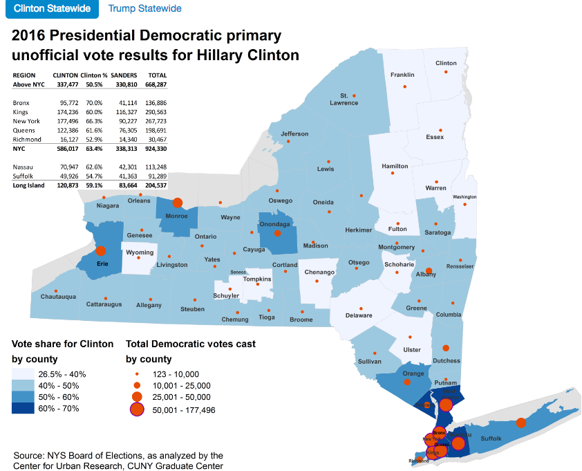 Clinton statewide map via CUNY graduate center