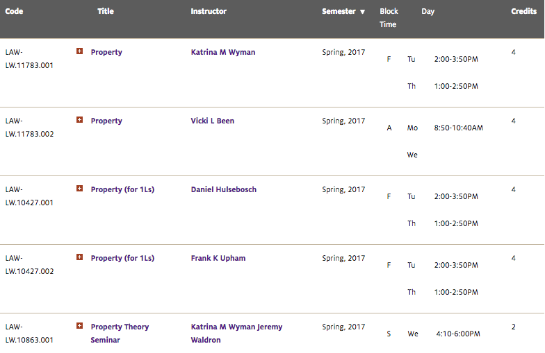 NYU Law School Vicki Been course screen shot