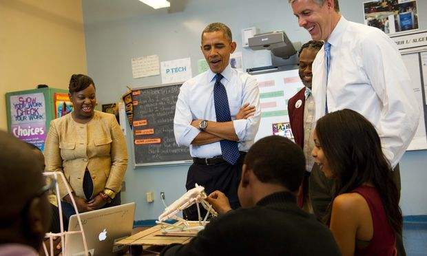 Obama and Duncan at P-Tech HS (Getty)