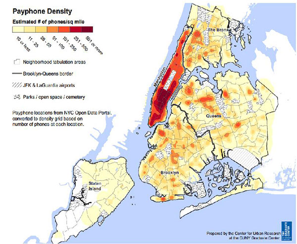 payphone density CUNY
