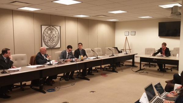 CM Vallone asks Commissioner Sutton questions at Tuesday's hearing