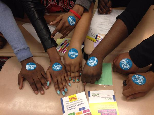 voter registration hands