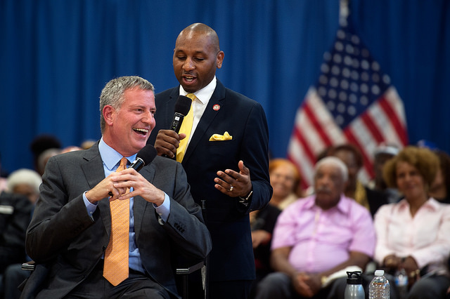 de blasio richards town hall queens