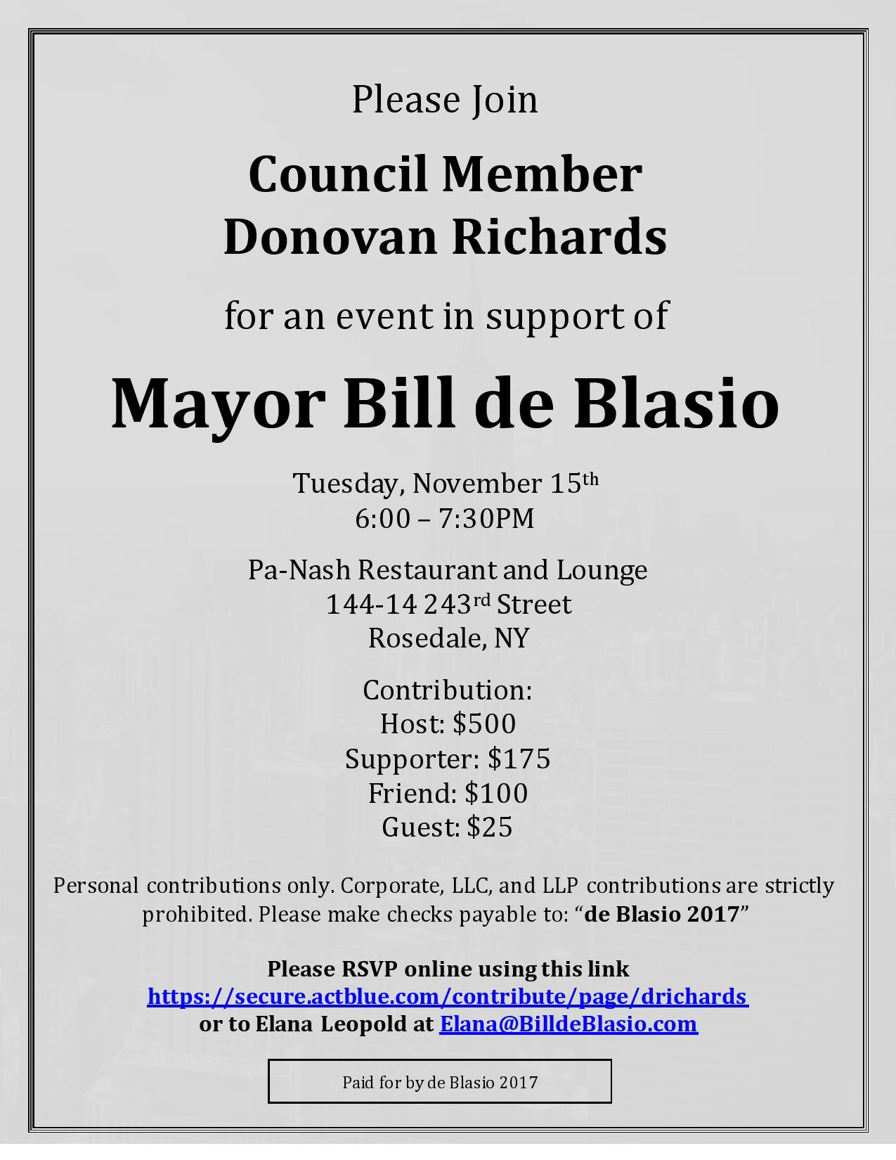 de blasio fundraiser invite richards