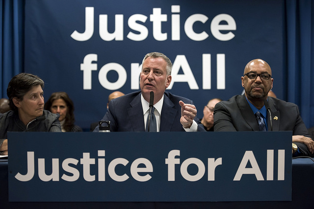 de Blasio justice legal defense