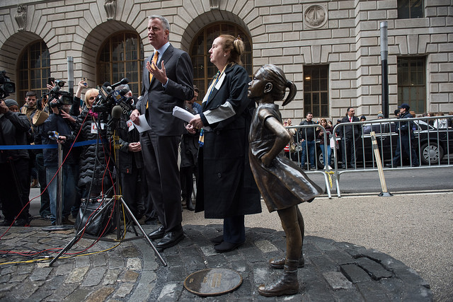de Blasio Brewer fearless girl
