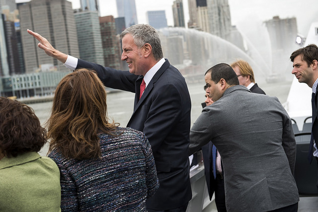 de blasio ferry wave