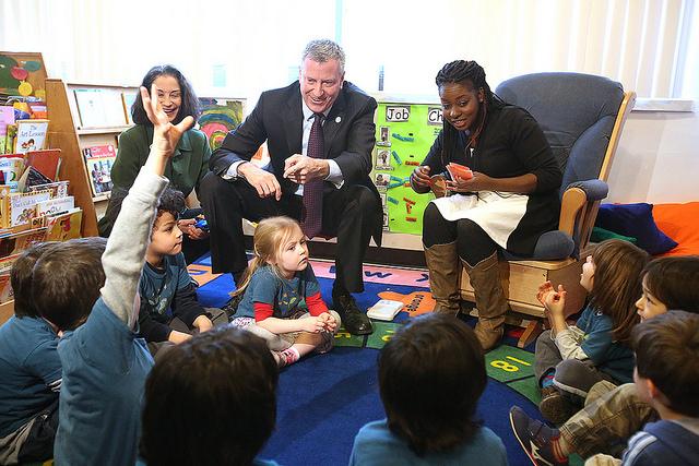 de Blasio classroom visit