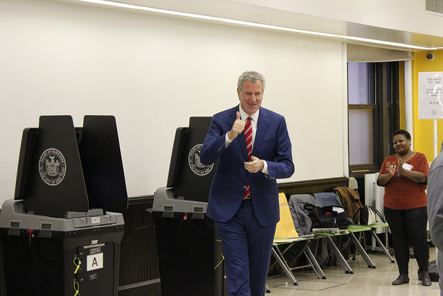 de Blasio voting election