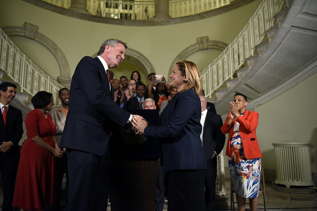 De Blasio Mark-Viverito City Hall handshake Ed Reed Mayor's Office