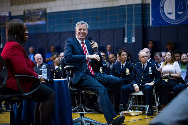 De Blasio town hall smile