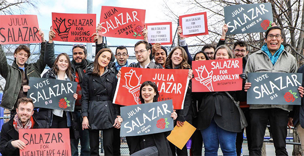julia salazar campaign photo w supporters