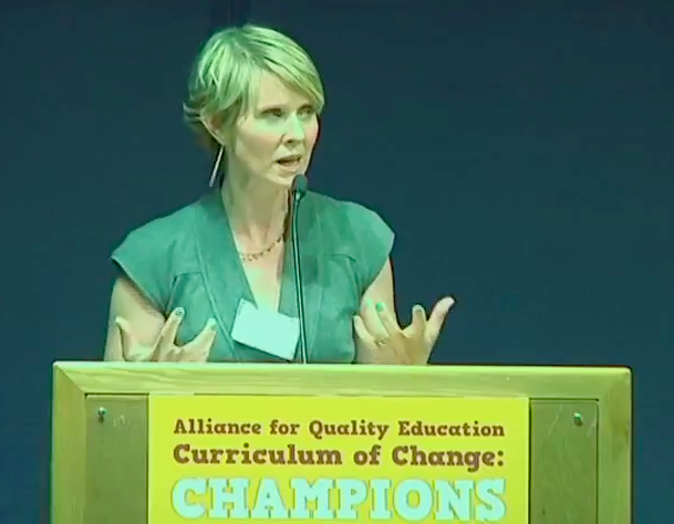 Cynthia Nixon AQE education awards