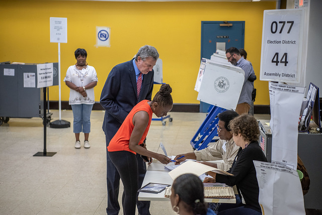 de blasio voting election day