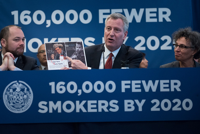 de Blasio New York City anti-smoking