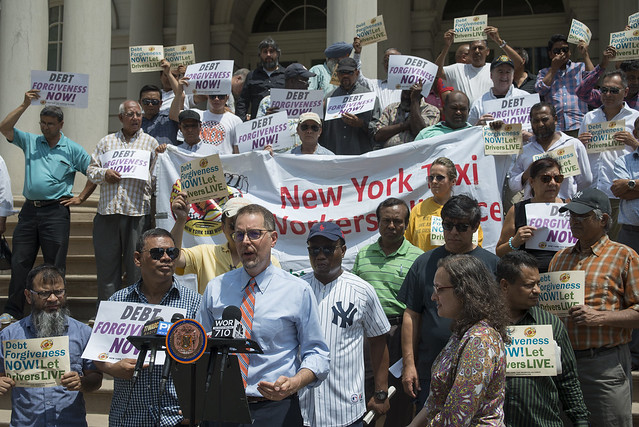 taxi medallion drivers rally city hall