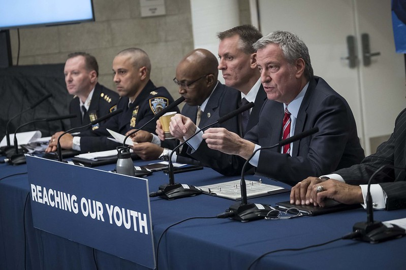 de Blasio NYPD brass youth