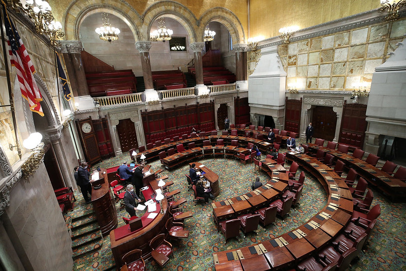 New York State Senate chambers almost empty