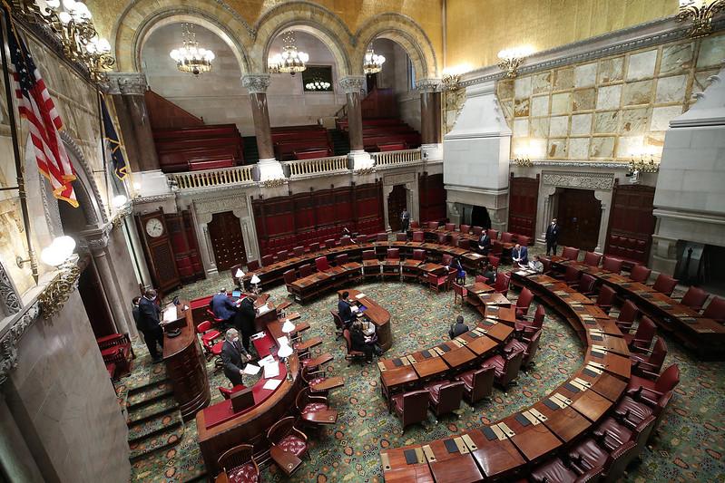New York State Senate chambers almost empty