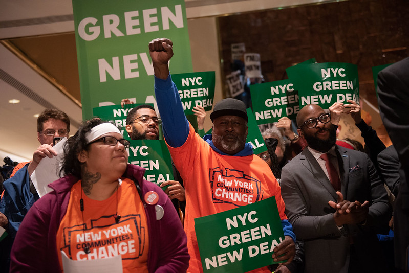 NYC Green New Deal rally Trump Tower