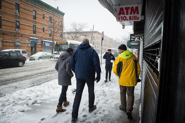 de Blasio walking snow