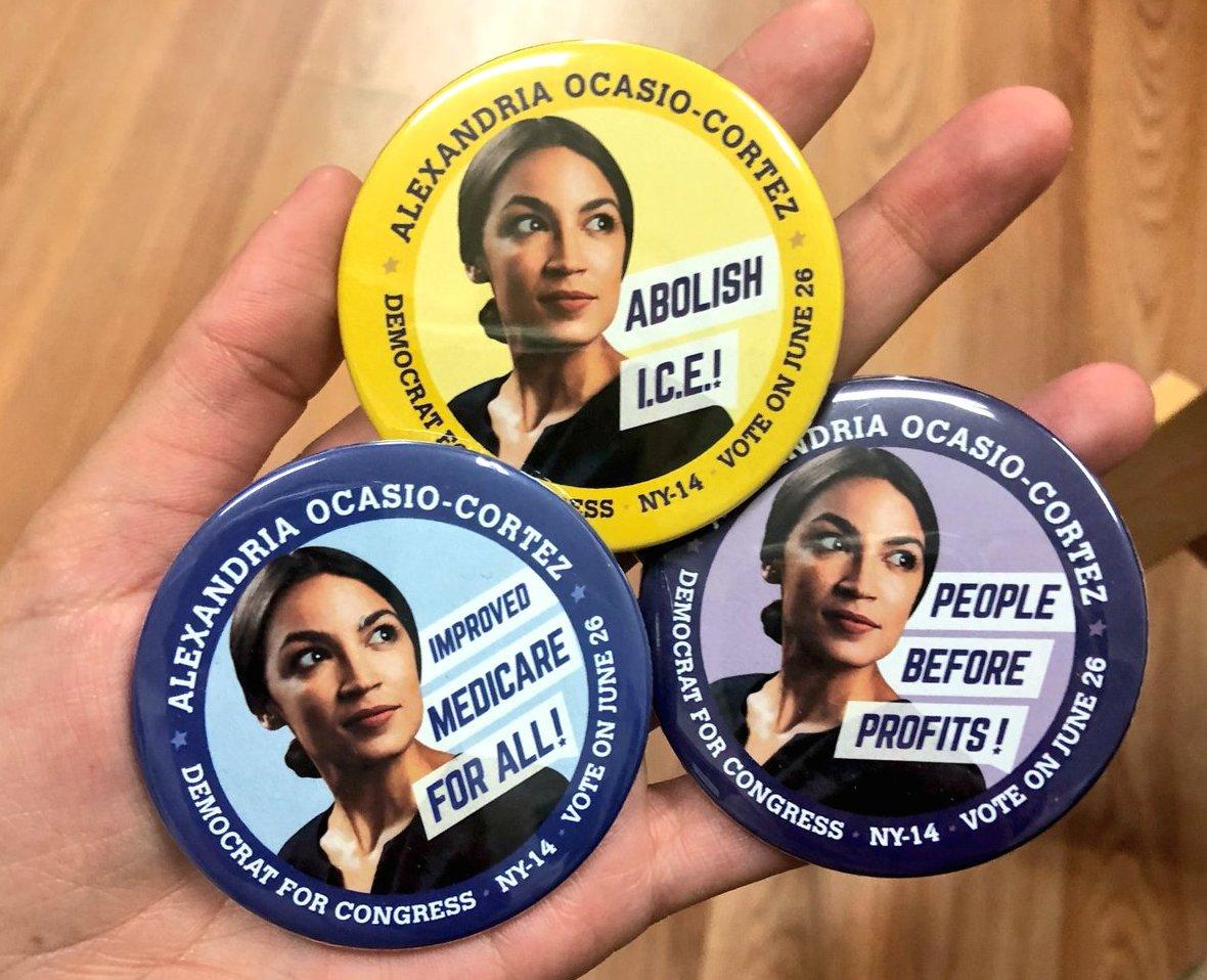 ocasio-cortez campaign buttons