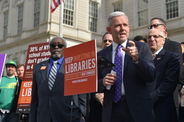 van bramer libraries rally